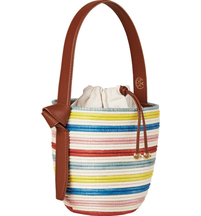 LA LIGNE x Cesta Lunch Pail Straw Handbag, Main, color, MULTI