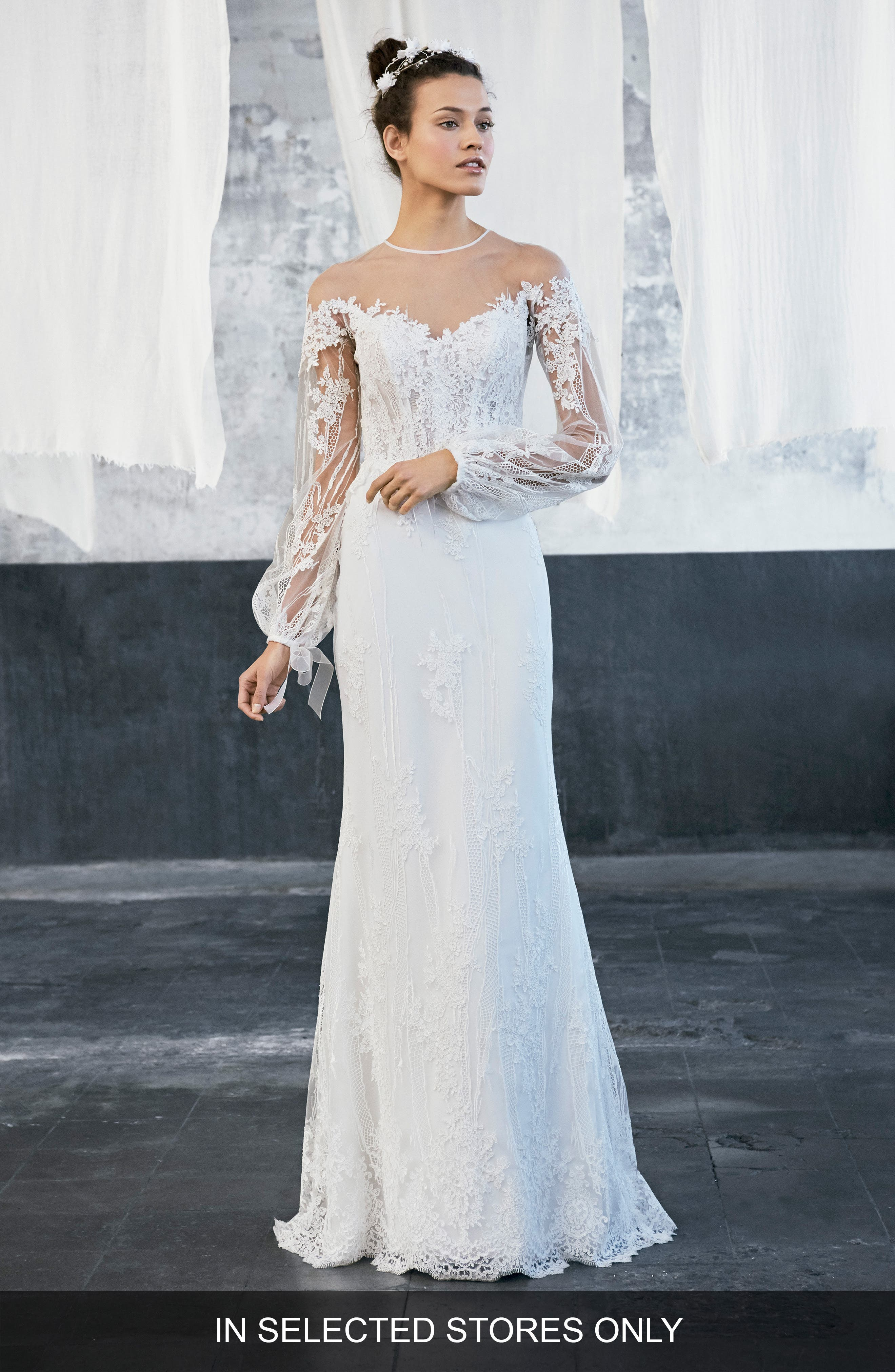 Inmaculada garcía tecate puff sleeve embroidered tulle lace gown