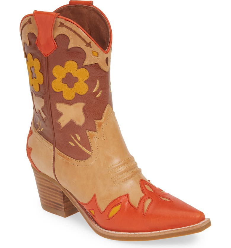 JEFFREY CAMPBELL Looney Western Boot, Main, color, BROWN COMBO LEATHER