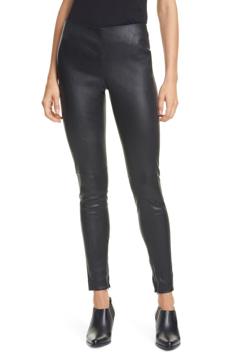 POLO RALPH LAUREN Leather Leggings, Main, color, POLO BLACK