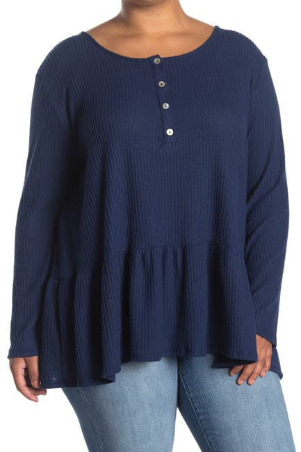 Image of Forgotten Grace Long Sleeve Button Down Peplum Waffle Knit Top