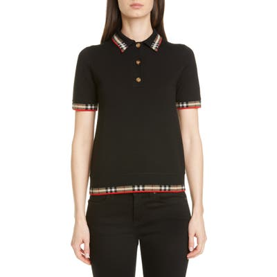 Burberry Lola Check Trim Merino Wool Blend Polo Sweater, Black