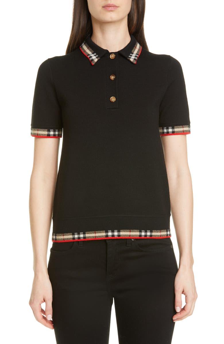 BURBERRY Lola Check Trim Merino Wool Blend Polo Sweater, Main, color, BLACK