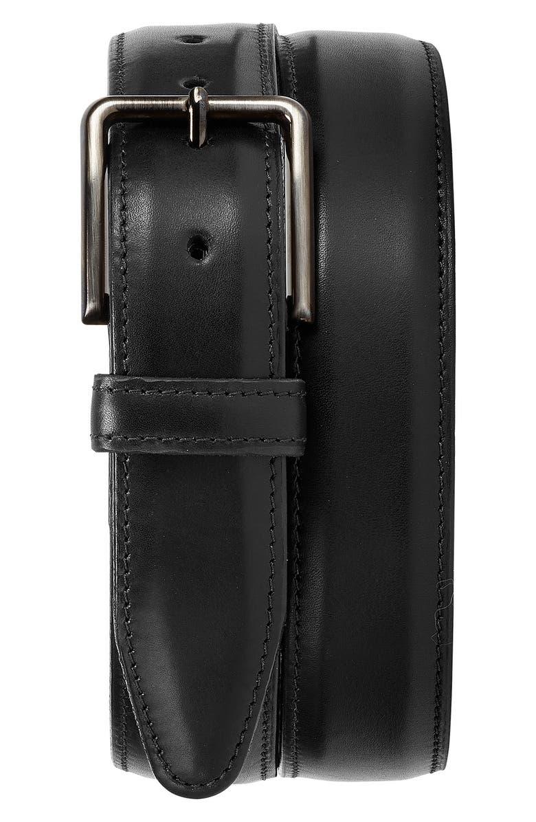 TRASK Flint Leather Belt, Main, color, BLACK