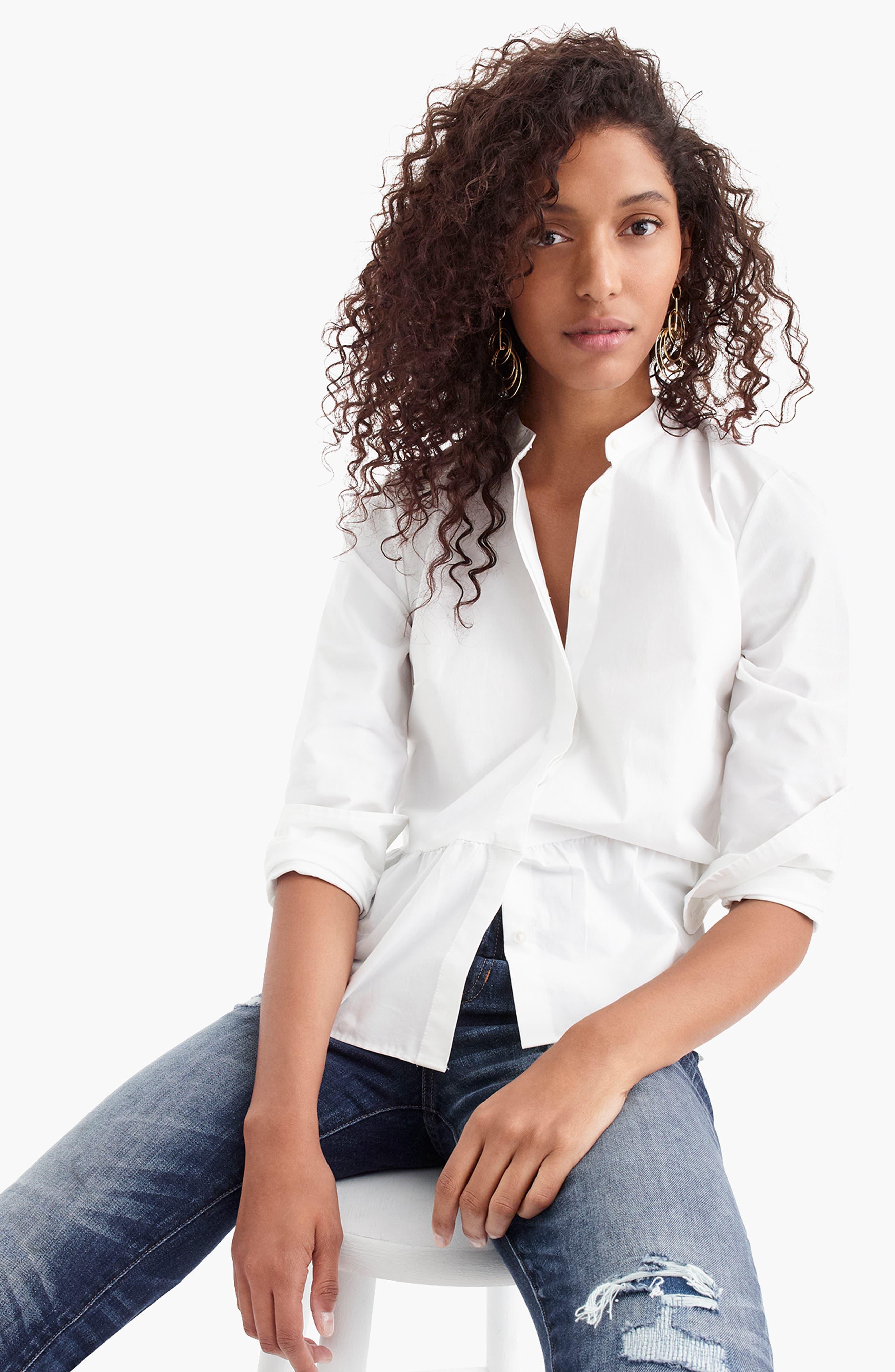 ,                             Stretch Button-Up Peplum Shirt,                             Alternate thumbnail 6, color,                             WHITE