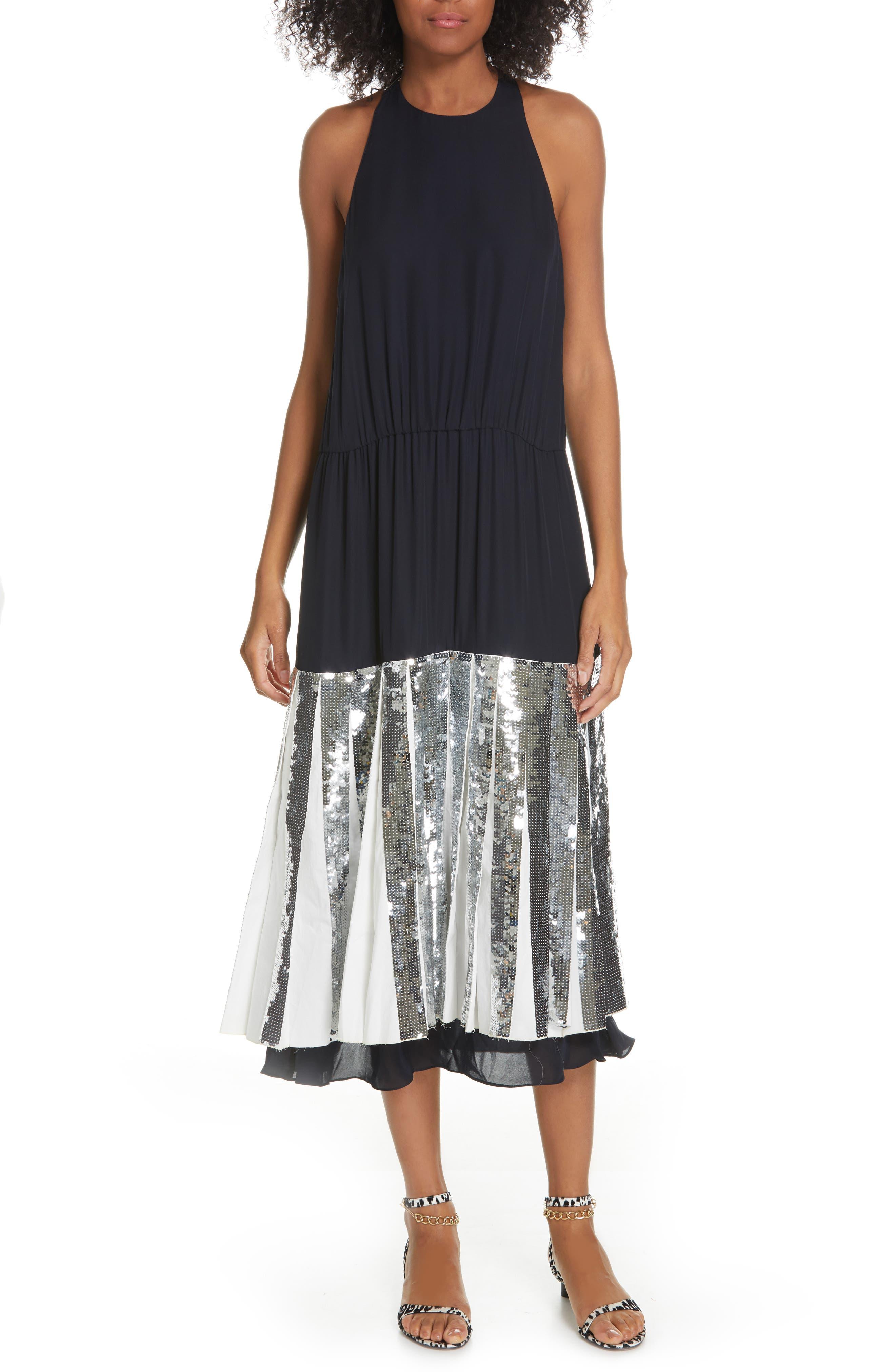 Tibi Claude Sequin Layered Silk Midi Dress, Blue