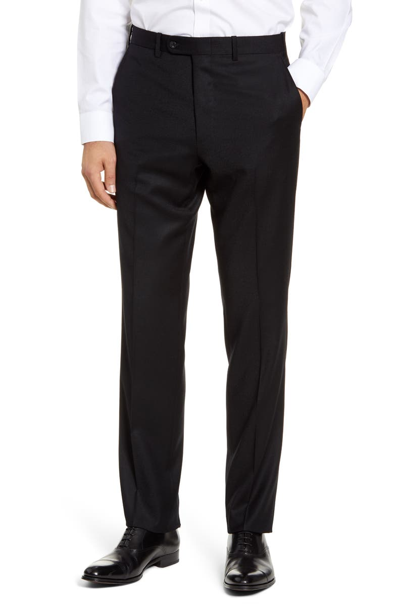 JOHN W. NORDSTROM<SUP>®</SUP> Torino Traditional Fit Flat Front Solid Wool & Cashmere Trousers, Main, color, 001