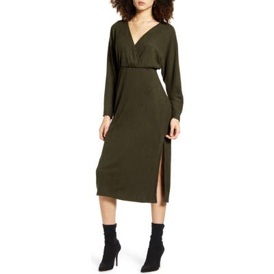 All In Favor Ribbed Long Sleeve Midi Sweater Dress, Green