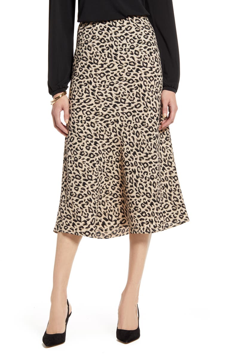 HALOGEN<SUP>®</SUP> Bias Cut A-Line Midi Skirt, Main, color, TAN ANIMAL PRINT