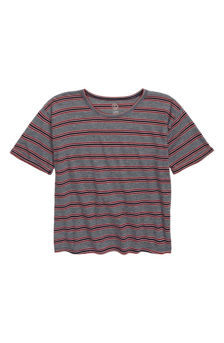 TREASURE & BOND Stripe Roll Cuff Tee, Main, color, NAVY PEACOAT NOVELTY STRIPE