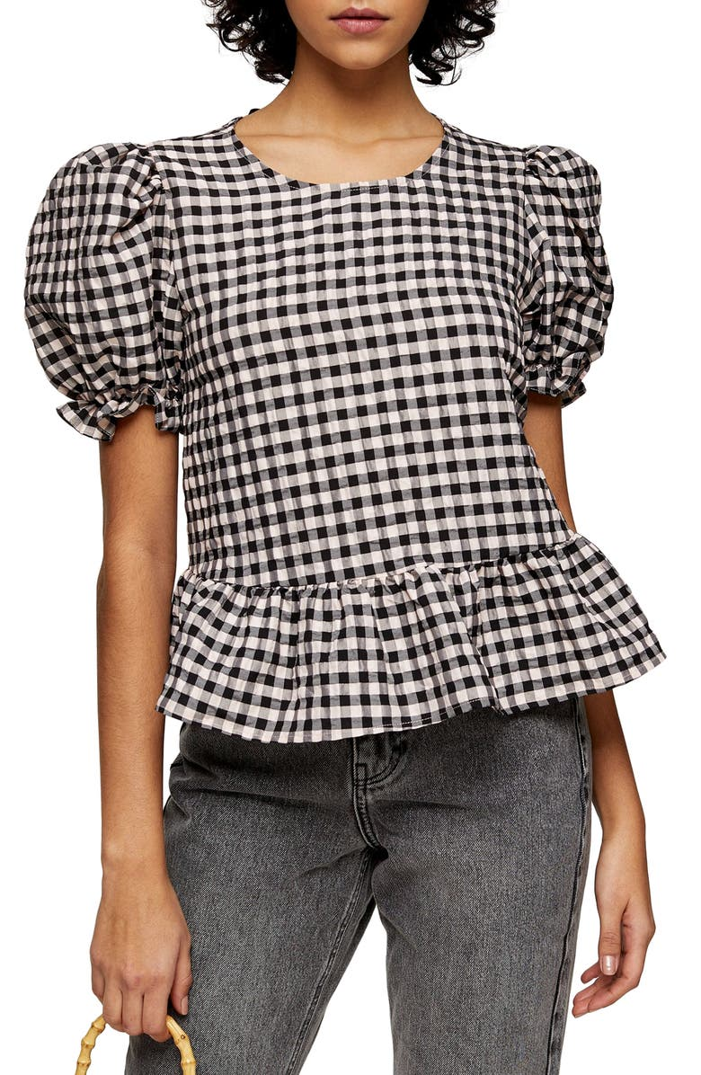 TOPSHOP Check Bow Back Puff Sleeve Blouse, Main, color, PINK
