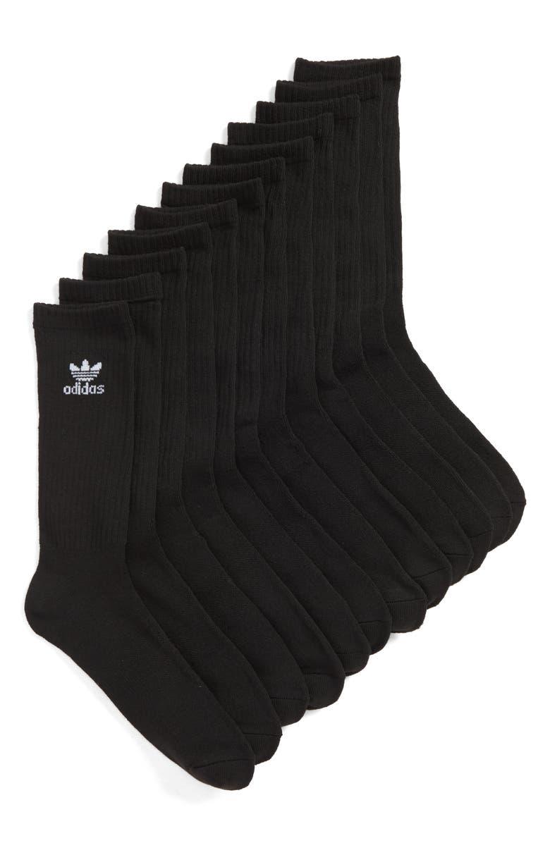 ADIDAS ORIGINALS Trefoil 6-Pack Crew Socks, Main, color, 001