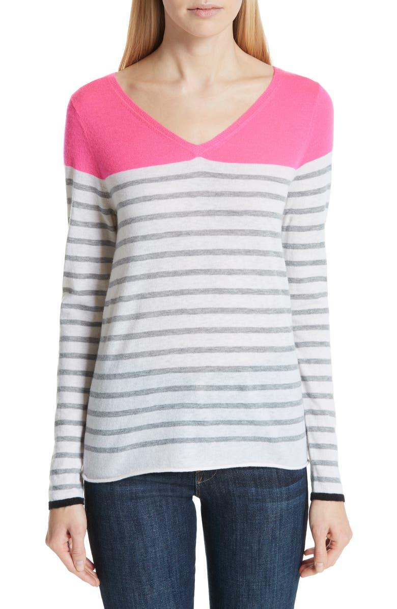 MAJESTIC FILATURES Stripe Cashmere Sweater, Main, color, ROSE FLUO/ MILK/ GRIS CHIN