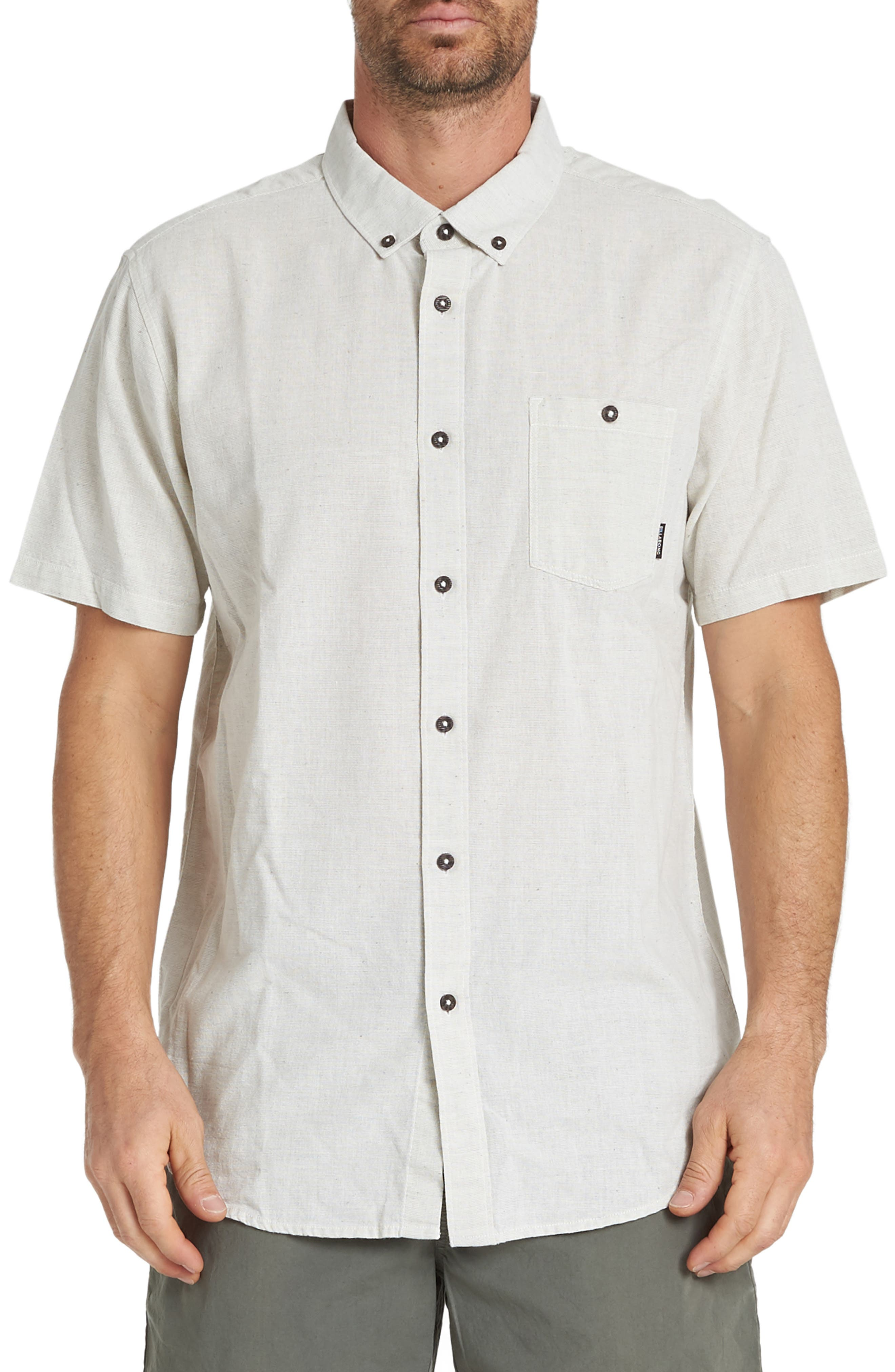 All Day Neppy Woven Shirt, Main, color, STONE