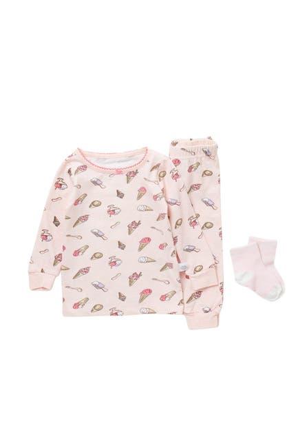 Image of CLOUD NINE Patterned Pajama Top, Pants & Socks