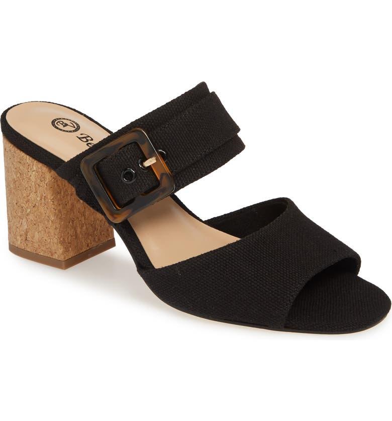 BELLA VITA Tory II Buckle Slide Sandal, Main, color, BLACK LINEN FABRIC