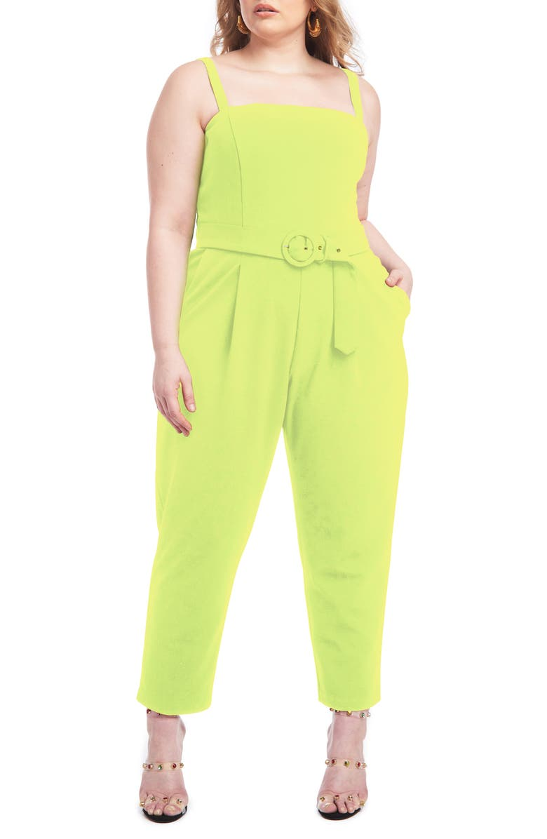 CHRISTIAN SIRIANO Belted Scuba Crepe Jumpsuit, Main, color, CITRON