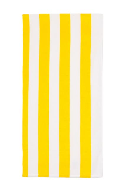 Image of Apollo Towels Cabana Stripe Beach Towel - Yellow