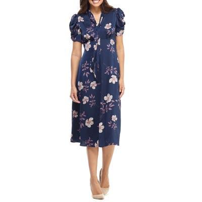 Maggy London Floral Charmeuse Midi Dress, Blue