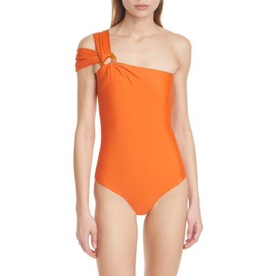 Johanna Ortiz One-Shoulder One-Piece Swimsuit, Orange