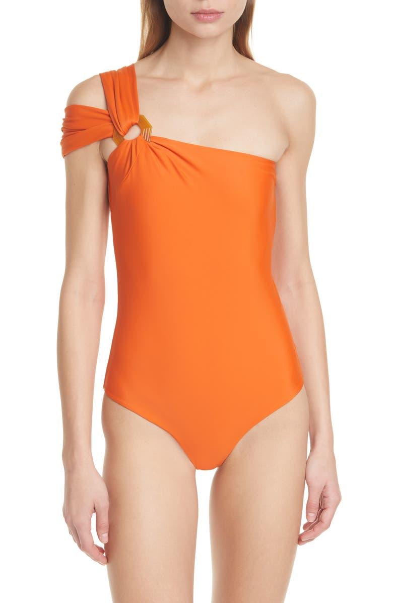 JOHANNA ORTIZ One-Shoulder One-Piece Swimsuit, Main, color, FIRE ORANGE