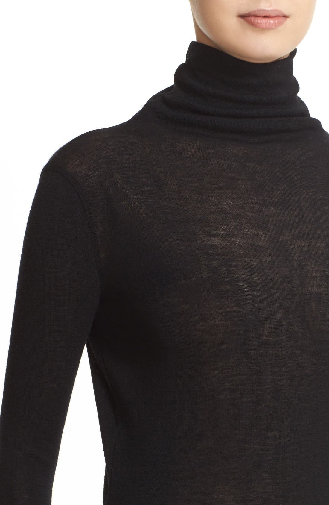 ,                             Lightweight Wool Funnel Neck Sweater,                             Alternate thumbnail 5, color,                             001
