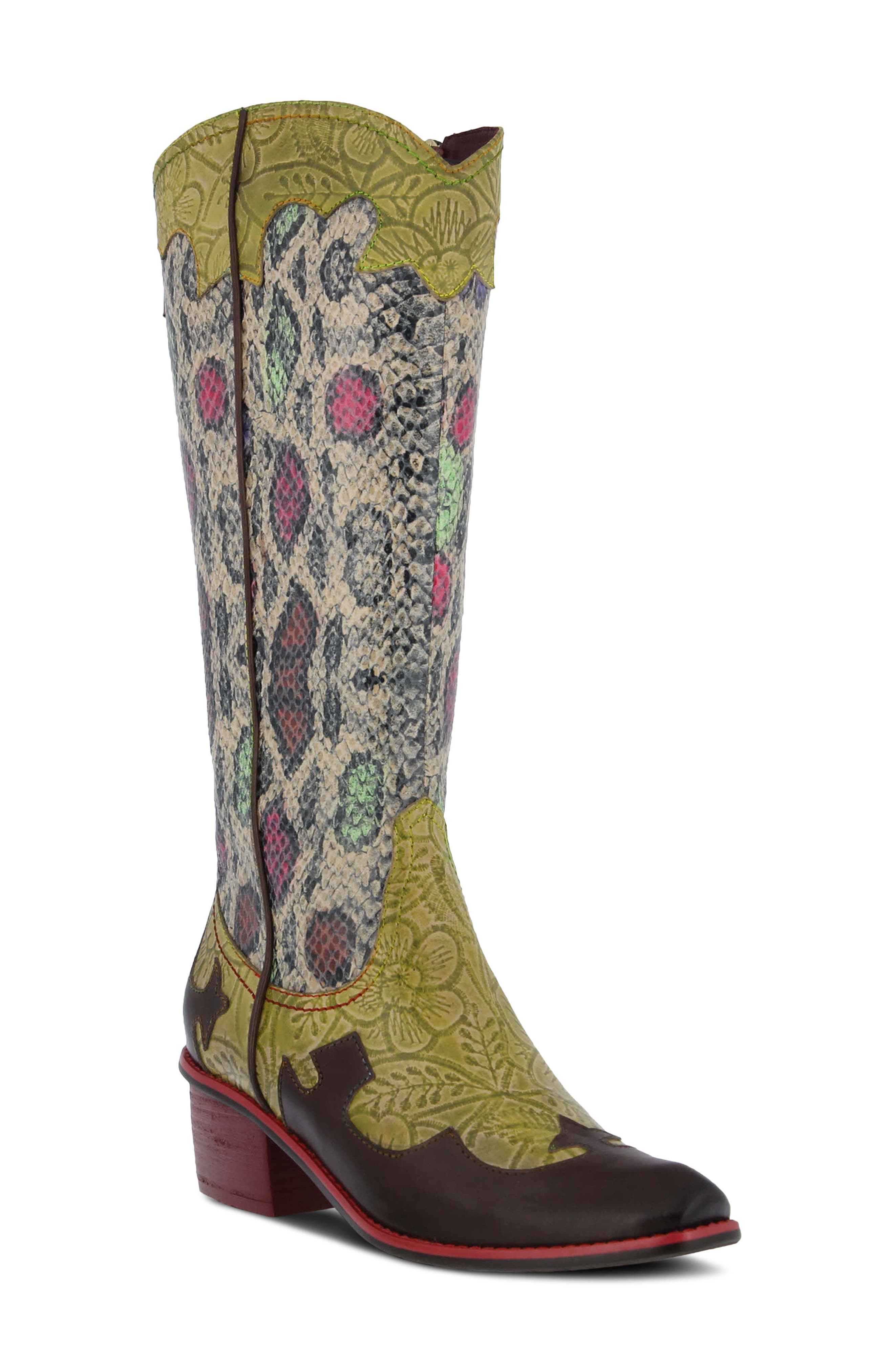 Rodeo Western Pointed Toe Mid Calf Boot