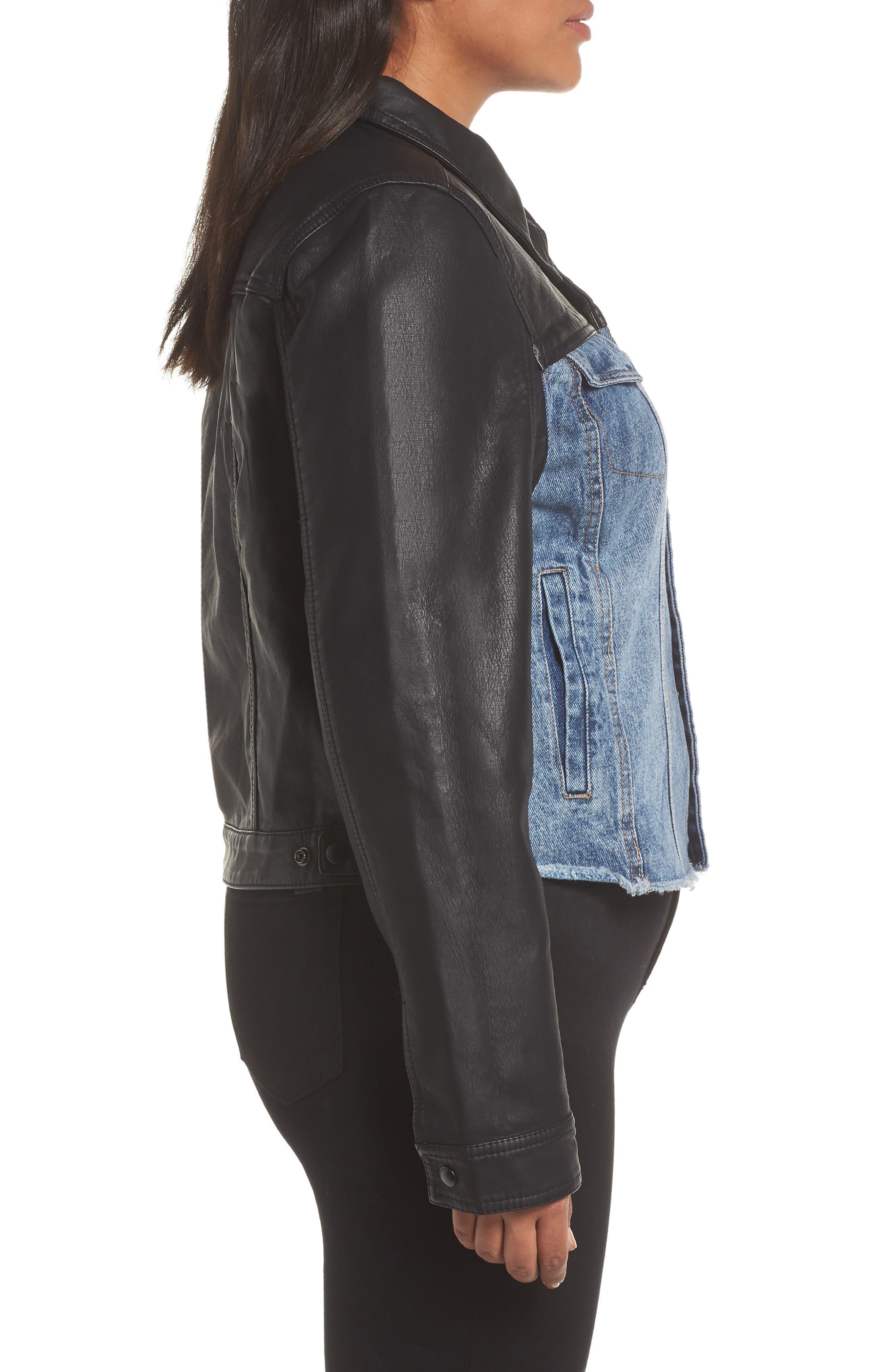 ,                             Faux Leather & Denim Jacket,                             Alternate thumbnail 10, color,                             001