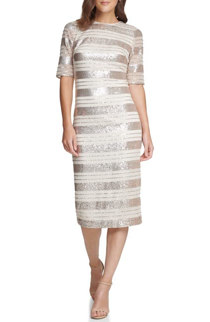 Image of Vince Camuto Sequin Stripe Midi Dress