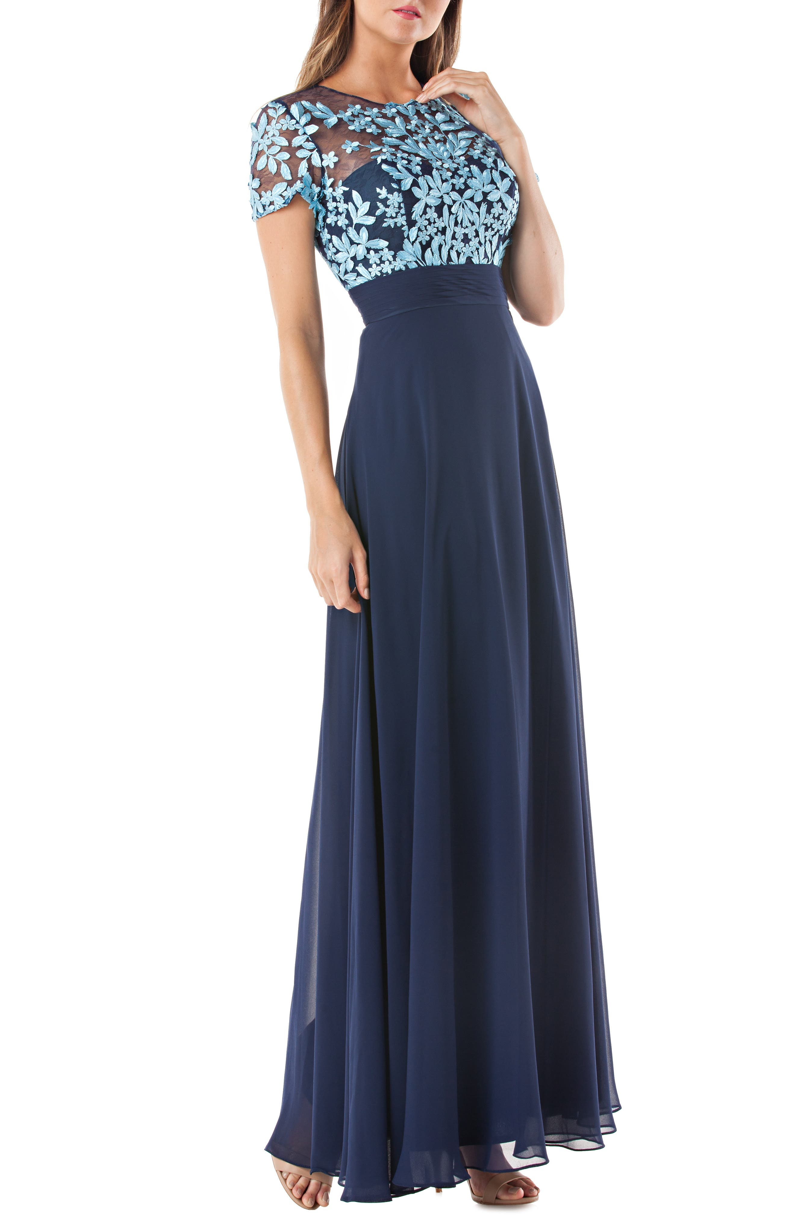 Js Collections Embroidered Illusion Bodice Gown, Blue