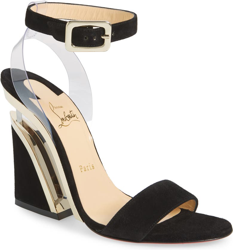 CHRISTIAN LOUBOUTIN Levitalo Wedge Sandal, Main, color, BLACK/ GOLD