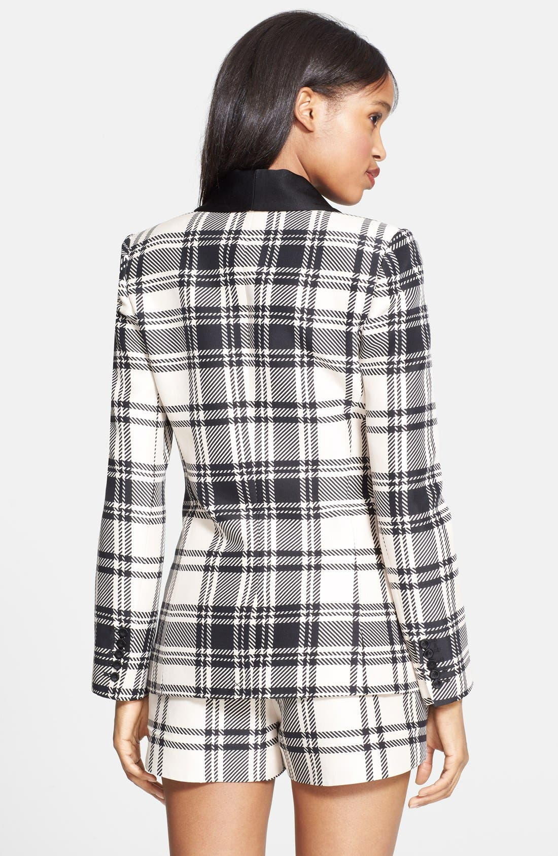 ,                             Plaid Satin Back Crepe Blazer,                             Alternate thumbnail 4, color,                             900