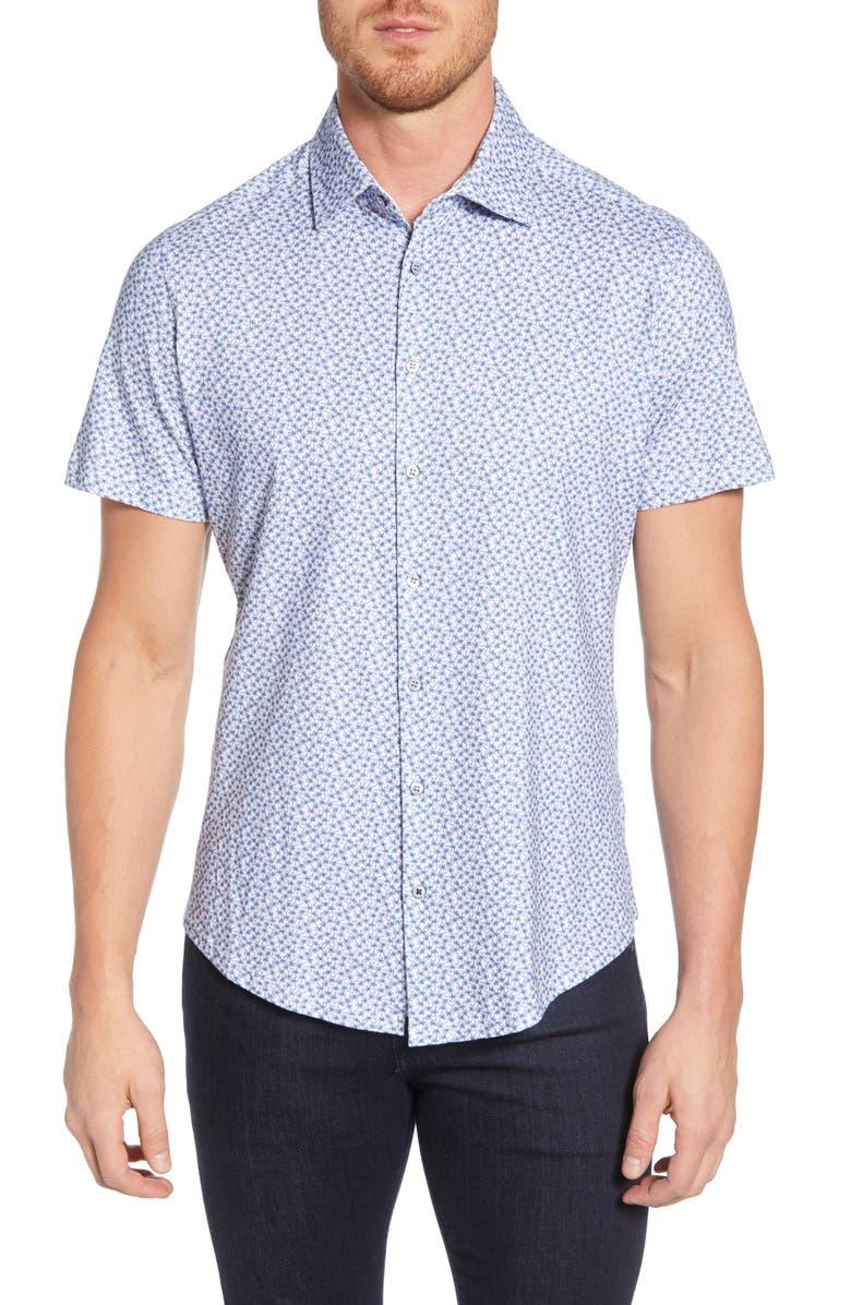 STONE ROSE Palm Print Regular Fit Knit Shirt, Main, color, 650