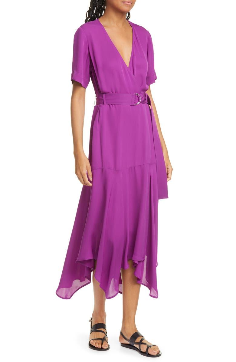 A.L.C. Claire Handkerchief Hem Silk Wrap Dress, Main, color, BETONY
