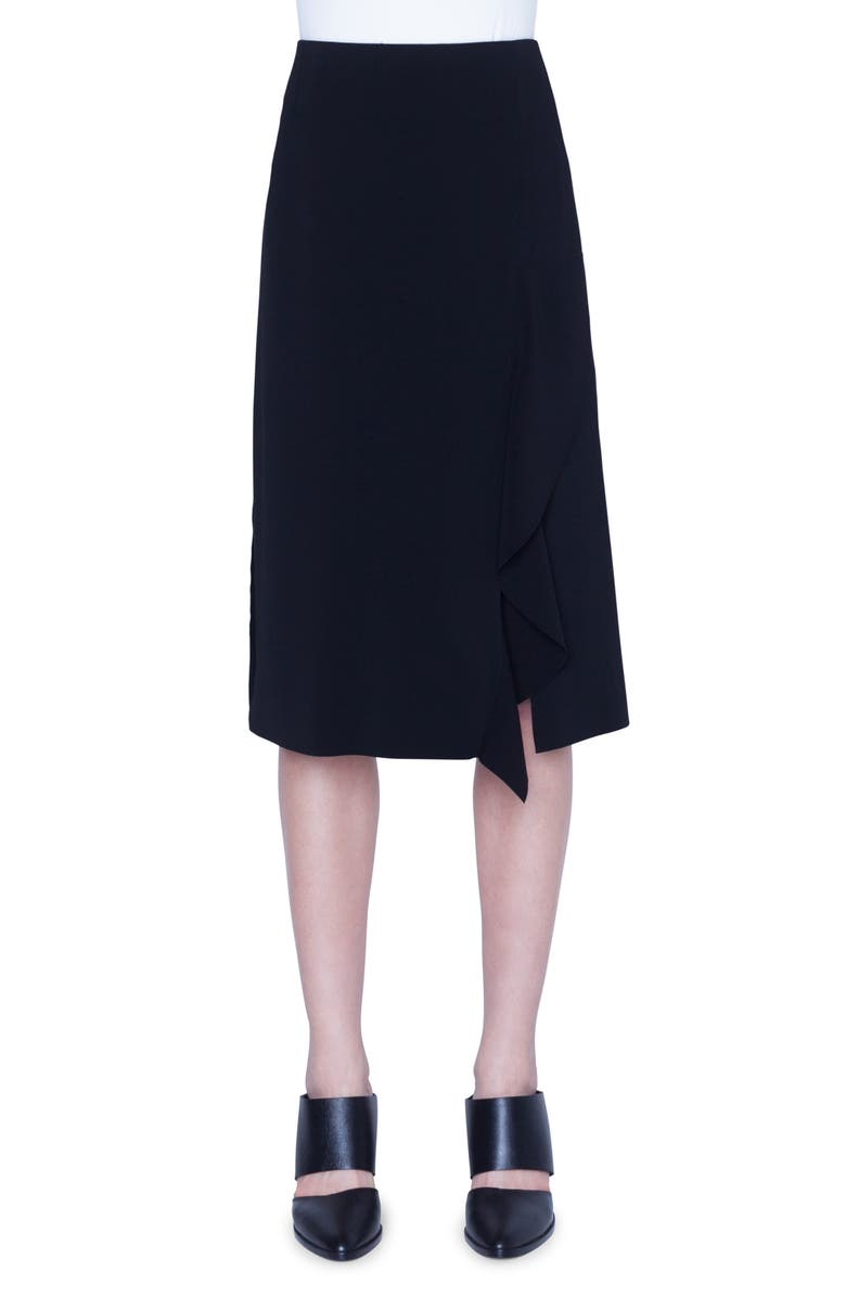 AKRIS PUNTO Asymmetrical Ruffle Crepe Midi Skirt, Main, color, BLACK