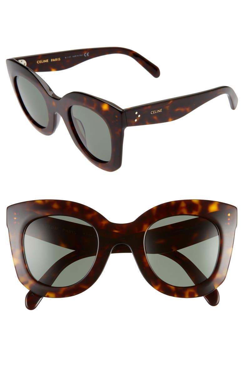 CELINE 47mm Cat Eye Sunglasses, Main, color, DARK HAVANA/ GREEN
