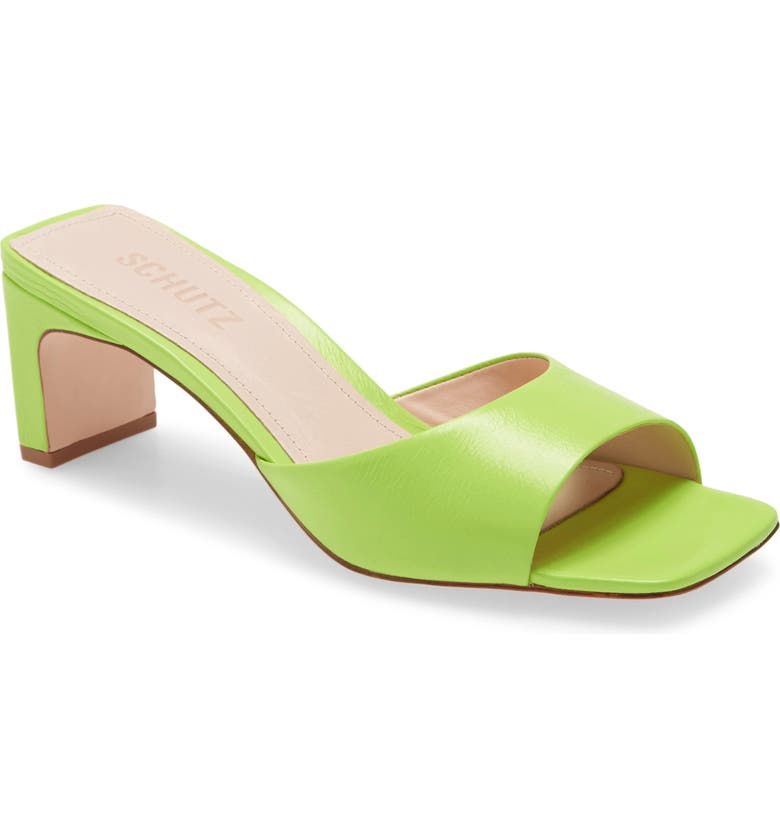 SCHUTZ Queliana Slip-On Sandal, Main, color, WILD LIME LEATHER