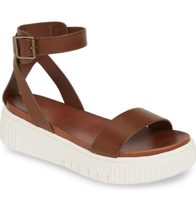 MIA Lunna Platform Ankle Strap Sandal, Main, color, COGNAC
