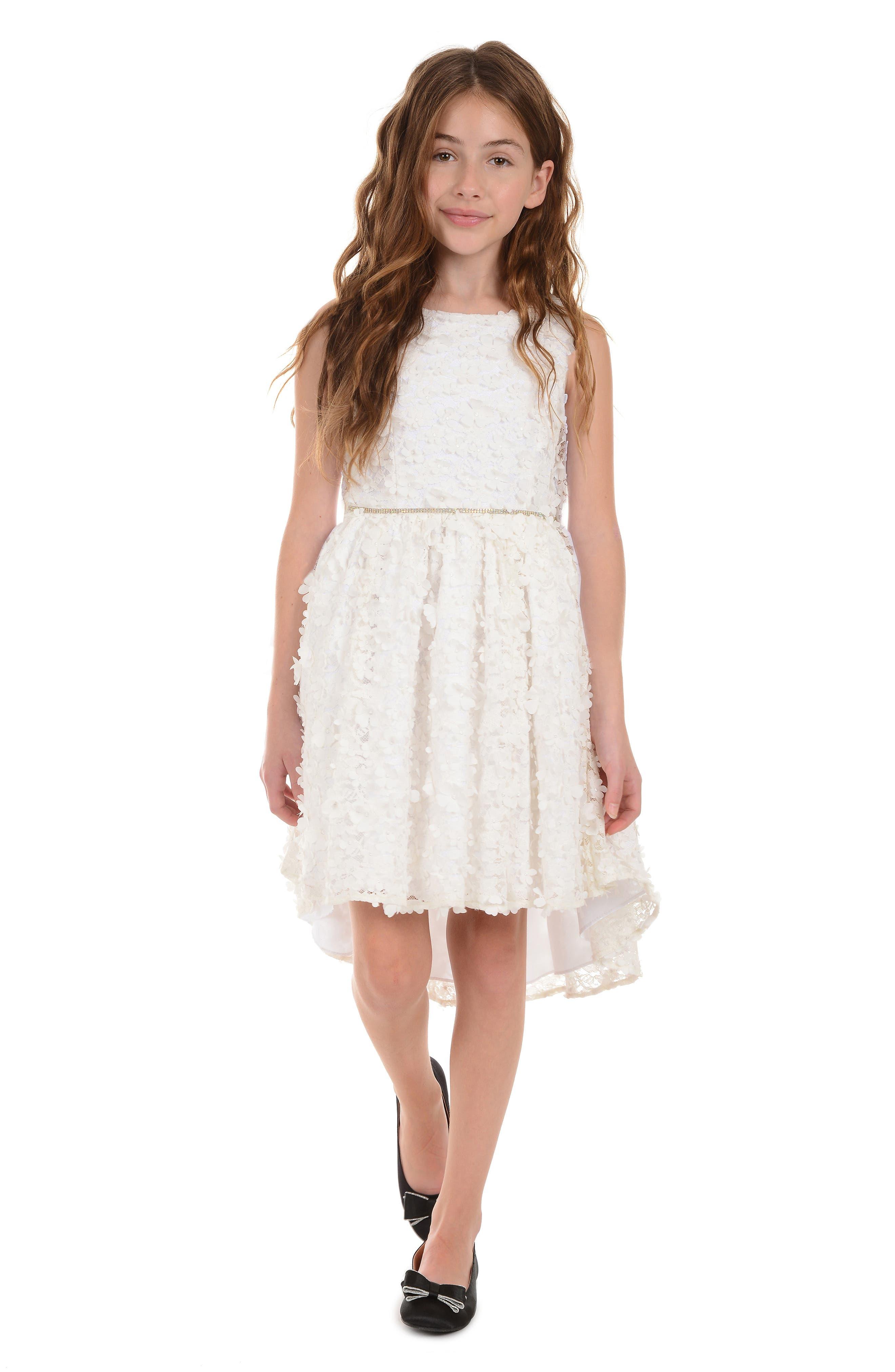 ,                             3D Flower High/Low Lace Dress,                             Alternate thumbnail 3, color,                             WHITE