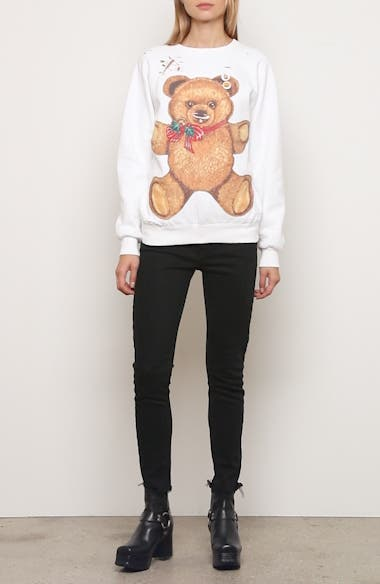 Punk Teddy Bear Distressed Sweatshirt, video thumbnail