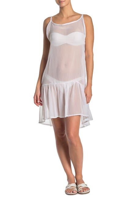 Image of Rachel Roy Sheer Flounce Hem Cover-Up Dress