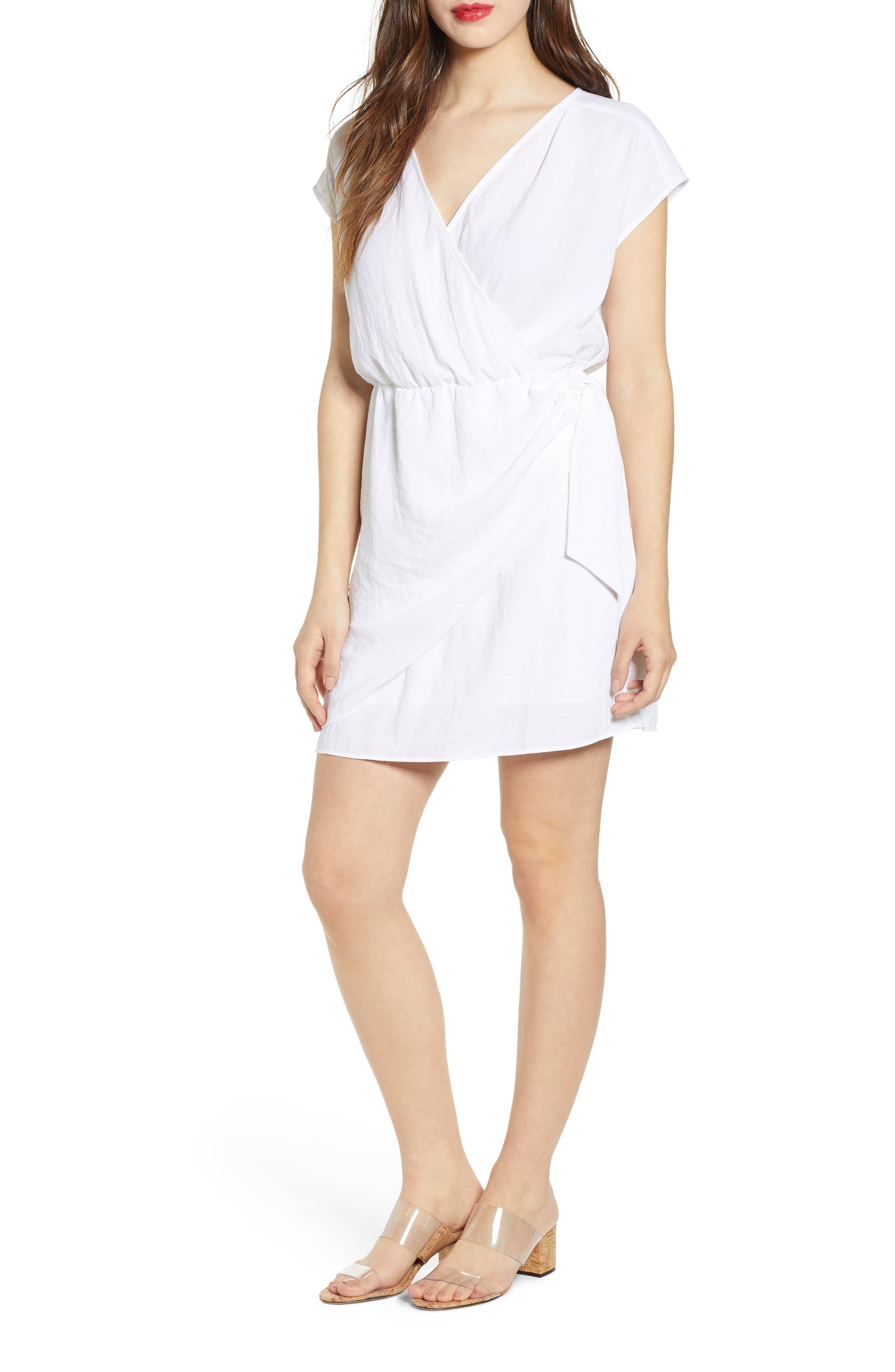 Leith Wrap Minidress, White
