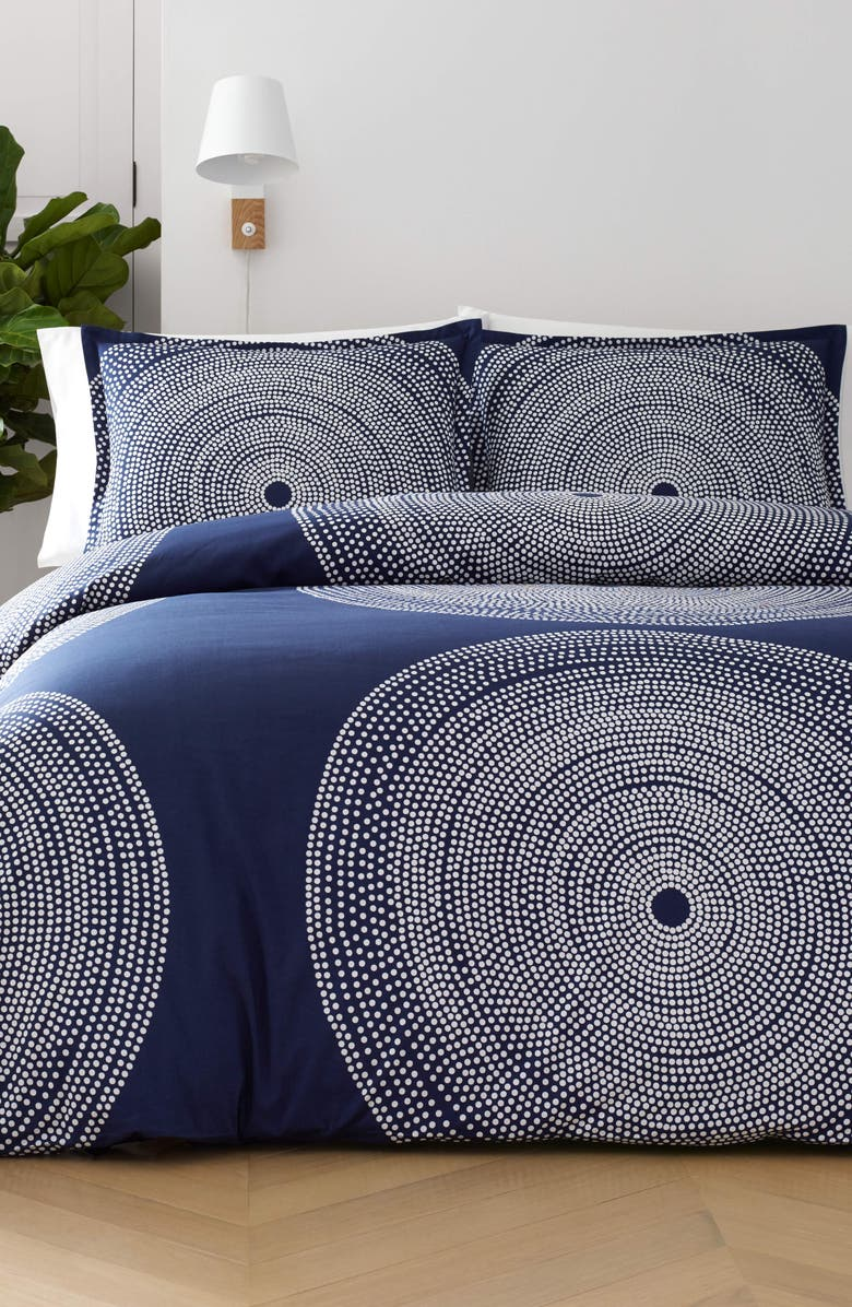 MARIMEKKO Fokus Duvet Cover & Sham Set, Main, color, DARK BLUE