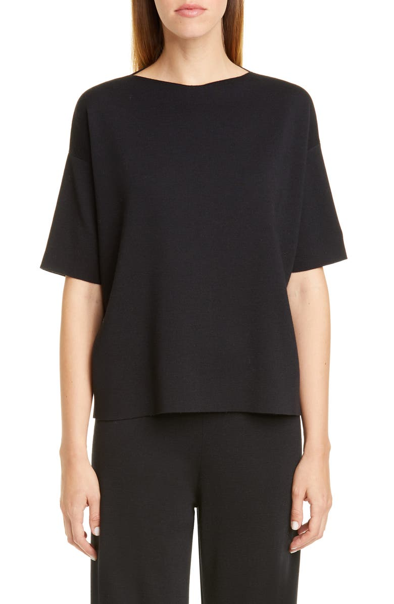 MANSUR GAVRIEL Milano Short Sleeve Wool Sweater, Main, color, 001