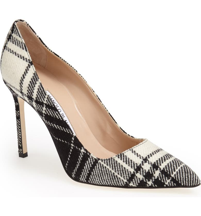 MANOLO BLAHNIK 'BB' Plaid Pointy Toe Pump, Main, color, 001