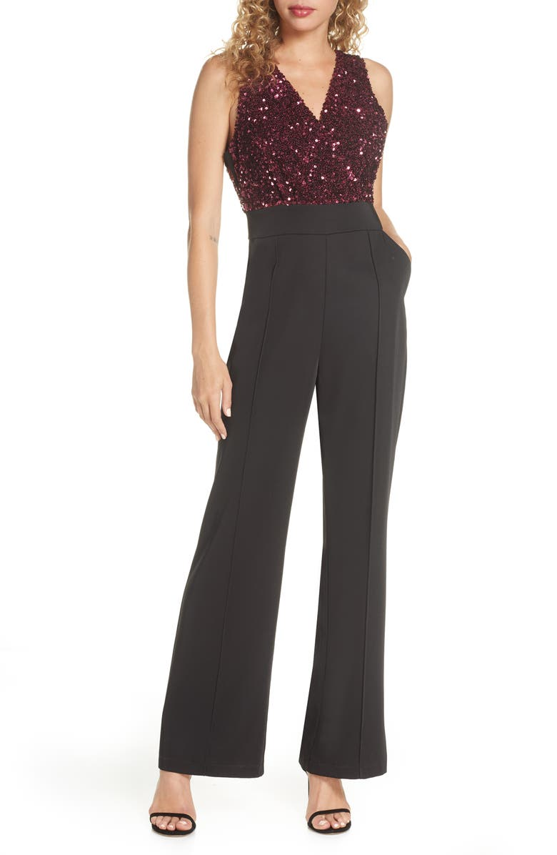 HARLYN Sequin Jumpsuit, Main, color, 001