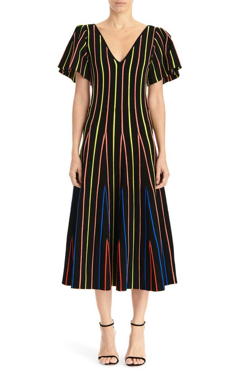 CAROLINA HERRERA Flutter Sleeve Fit & Flare Midi Dress, Main, color, 001