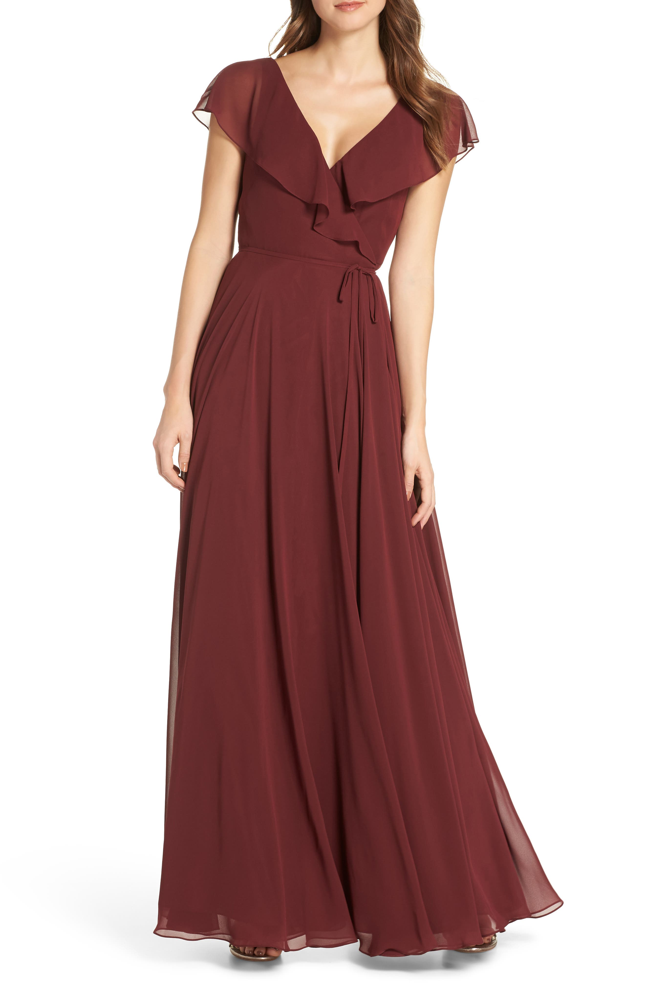 Jenny Yoo Faye Ruffle Wrap Chiffon Evening Dress, Red