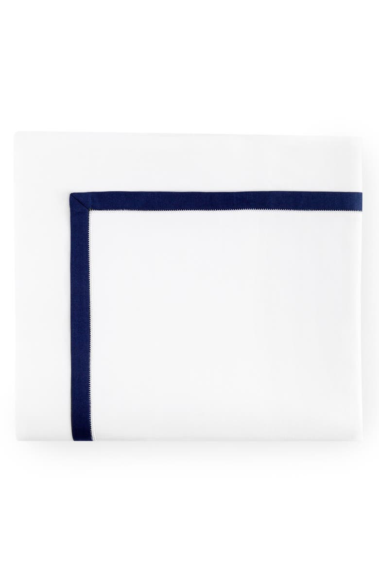 SFERRA Amando Flat Sheet, Main, color, WHITE/ NAVY