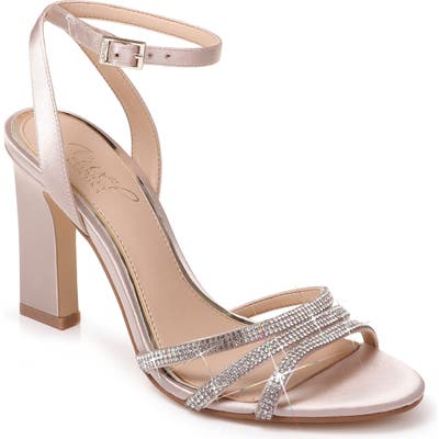 Jewel Badgley Mischka Crystal Embellished Ankle Strap Sandal, Ivory